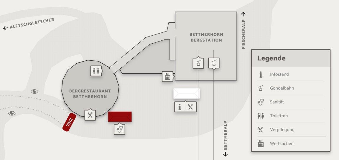 Skizze Zielgelände Aletsch Halbmarathon Aletsch Arena
