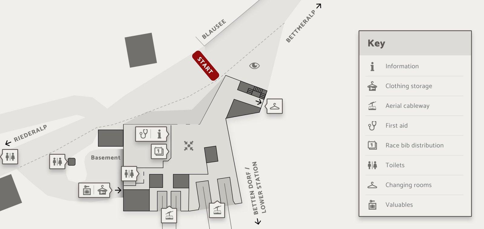 Skizze Startgelände Aletsch Halbmarathon Aletsch Arena